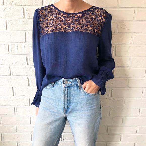 Navy boho crochet bell sleeve cottagecore blouse